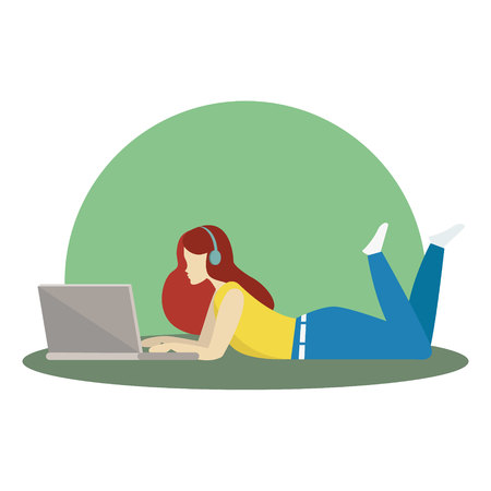 Illustration silhouette relaxing girl, lying and working on laptop, listening to music