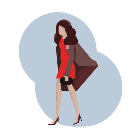A young woman, a girl in a dress, a coat with a ladys bag walking. Vector illustration, character in flat texture style. White background.