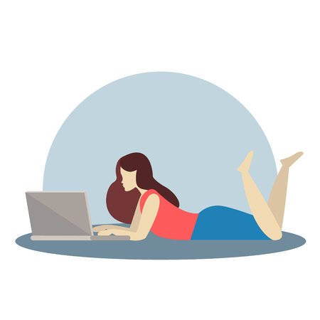 Illustration silhouette relaxing girl, lying and working on laptop, Imagens - 126066342