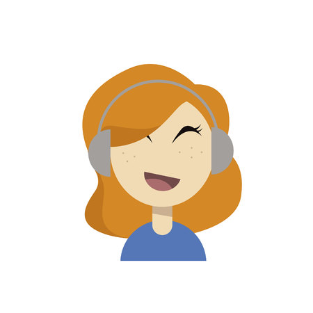 Young Girl Portrait Headphones Listening To Music Illustration