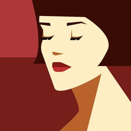 Stylish woman with bob haircut. Fashion vector illustration. Imagens - 133952872