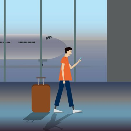 Vector illustration of a man carrying a luggage at the airport