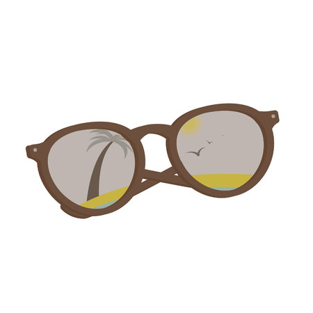 vector sun glasses with tropical beach reflection