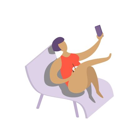Summer vacation. Leisure on tropical sunny seaside. Woman with bob haircut making selfie on chaise-longue at beach in tropical country. Illustration