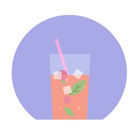Illustration with glass of drink in flat design style. Imagens - 131754804