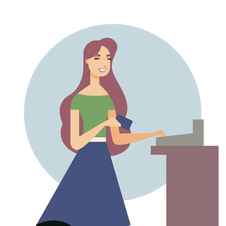 Beautiful woman holding a credit card in her hand. Shopping. Vector illustration in cartoon style Vettoriali