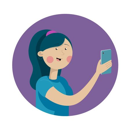 Portrait of a woman with a phone. Addiction on the smartphone and the Internet. Vector Flat Illustration Illustration