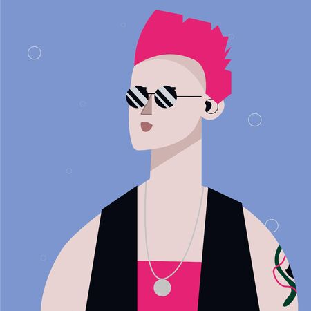punk cool girl portrait in vector, banner