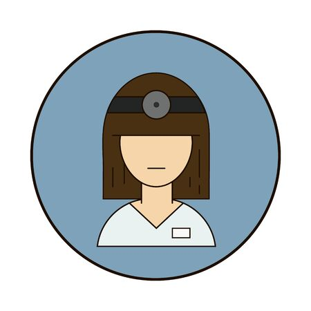 Vector medical icon woman doctor. A doctor in a white coat and a stethoscope. Illustration of doctor avatar