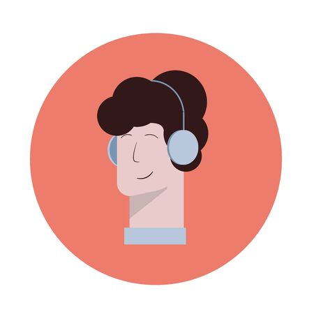 Vector icon of a man with headphones, listening Vettoriali
