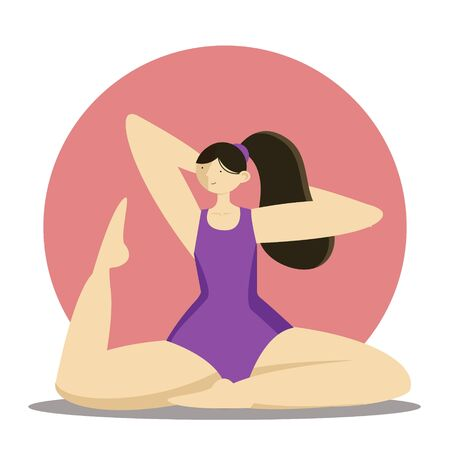Young girl or woman is doing yoga. vector flat illustration in modern concept