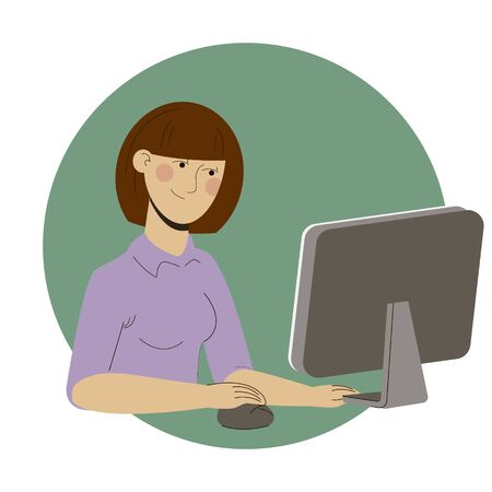 Girl freelancer working at home office web Vettoriali