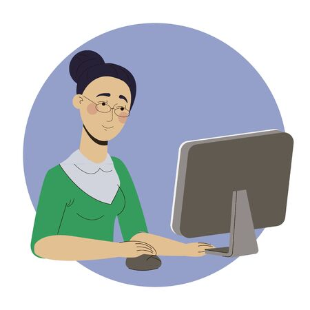 Girl freelancer working at home office web Illustration