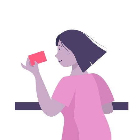 Woman hold credit card, she is paying using a credit card, shopping and retail concept Vettoriali