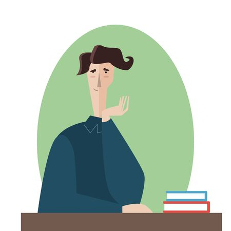 student and books.Vector man tired of reading and want to sleep illustration Vettoriali