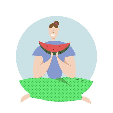 Happy Woman Eat Watermelon on Picnic. Female Character Relaxing on Nature Landscape. Vector Flat illustration