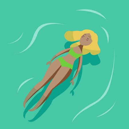 Vector summer poster with young sexy woman swimming in a pool.Swimming woman.