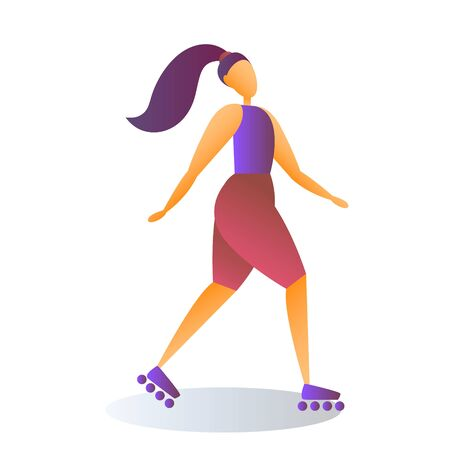 Roller Skating Young Girl, Sport Vector Concept