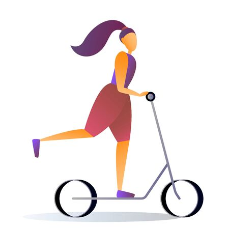 Sport young girl riding a scooter, vector