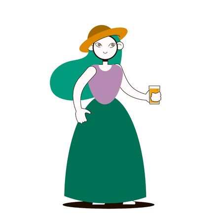 Line flat girl with a glass of juice Illustration