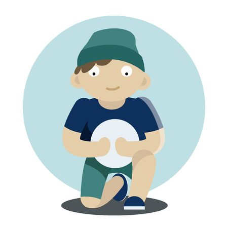 Boy Sitting and Holding Ball Vector Illustration