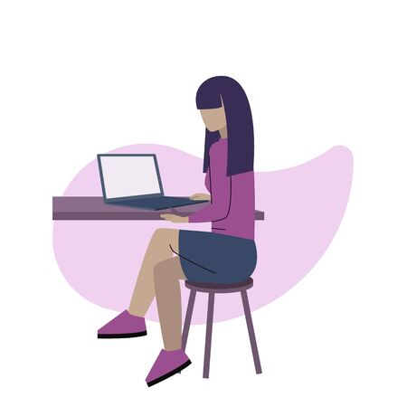A girl working on the computer at the office or freelance Illustration
