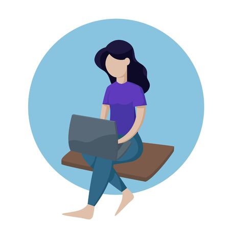 Isometric girl with a laptop sitting. Isometric vector isolated illustration.