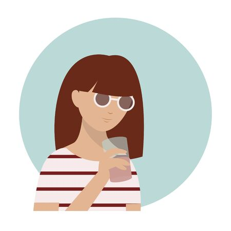 Cute girl in striped top and sunglasses drinking smoothie. Summer time. Character design. Template for design cards, notebook, shop, poster. Vettoriali