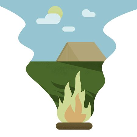 Camping in forest with tent and campfire. Eps10 vector illustration.