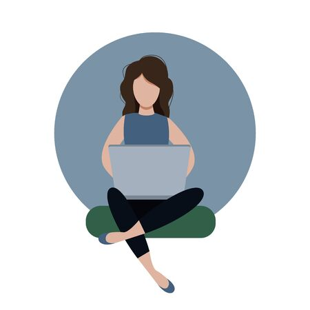 Young female freelancer working at home, flat editable vector illustration, clip art