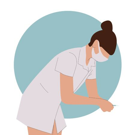 Female nurse wearing uniform holds a syringe to do an injection vector illustration. Medical drug injection and vaccination,
