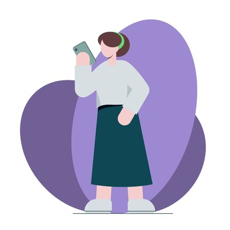 The girl looks into the phone. Illustration in flat style Vettoriali