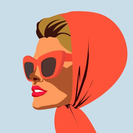 Beautiful retro woman portrait wearing kerchief and sunglasses vector illustration