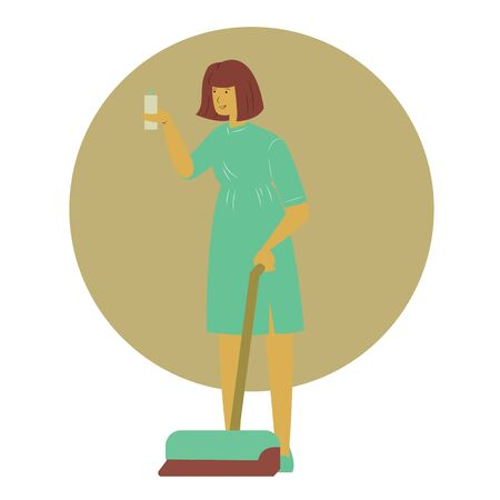 Vector housewife or professional cleaner flat cartoon illustration