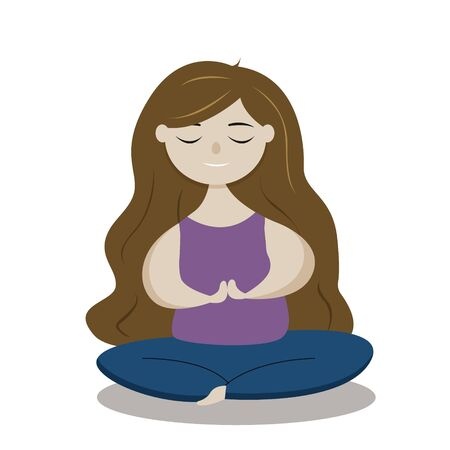 Young woman or girl practising yoga, lotus position