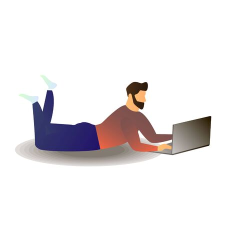 Cartoon vector illustration of Man chatting with girl while resting with laptop or woking freelance