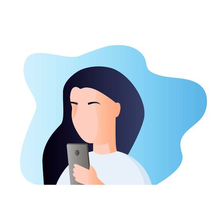 Portrait of a woman with a phone. Addiction on the smartphone and the Internet. Social networks. Vettoriali