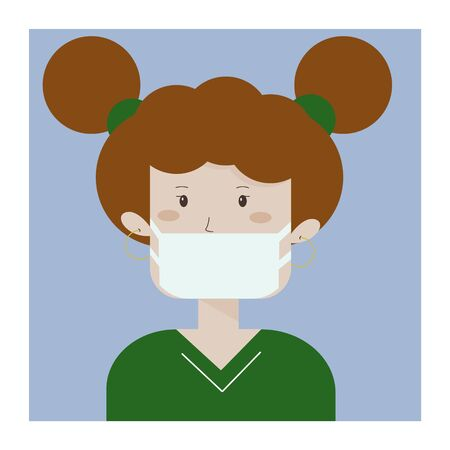 Medical mask for prevent virus. Kid wearing a surgical mask. Little girl. Child character. 向量圖像