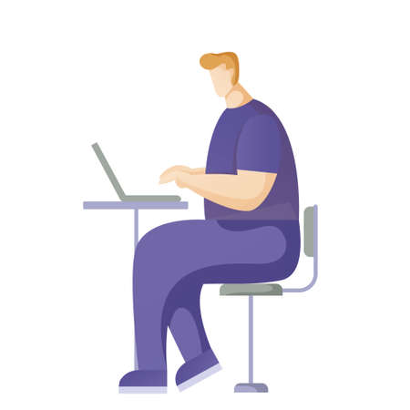 A buisnessman sitting infront of his laptop searching information in computer network. Searching concept