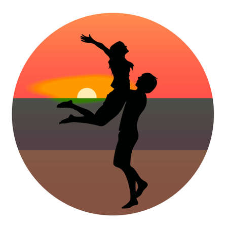 Silhouettes of a man holding a woman. On the background sunset and stars over the sea.