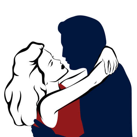Romantic Kiss of man and woman couple - vector