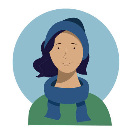 Flat portrait of girl in warm winter clothes - woollen scarf and hat and green coat 向量圖像