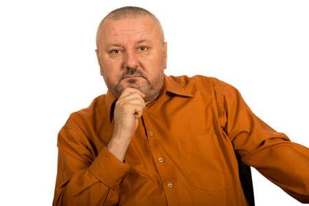 hombre calvo: Retrato de detalle de satisfechos maduro businessmanisolated en el fondo blanco