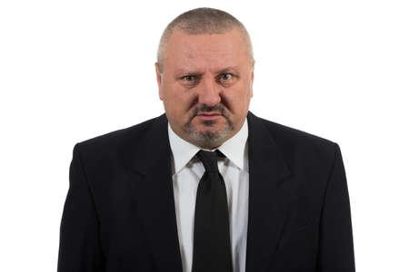 vendedor: Hombre de negocios solo y desesperado aislado en el fondo blanco
