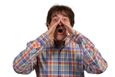 man yelling: Close up portrait of young man  yelling with open mouth on isolated white background