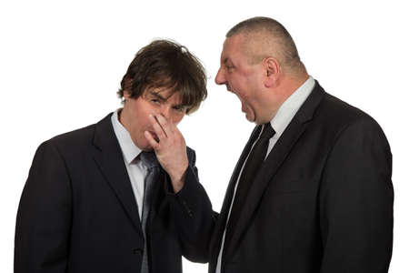 impervious: Two businessmen find out emotionally attitudes isolated on  white background Stock Photo