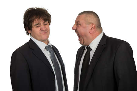 find out: Two businessmen find out emotionally attitudes isolated on  white background Stock Photo
