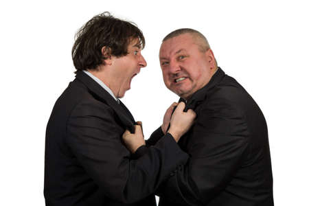 argues: Two angry business colleagues during an argument, isolated on white background.