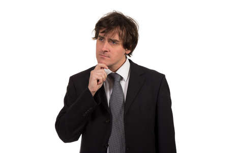 facial expression: Thinking man isolated on white background. Closeup portrait of a casual young pensive businessman looking up at copyspace. Caucasian male model.