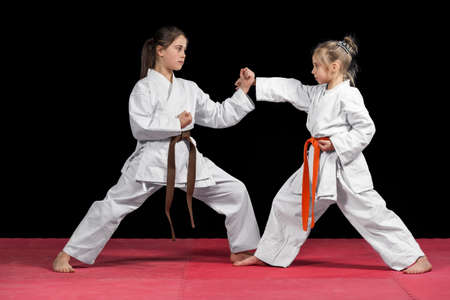 Two girls in kimono are training paired exercises karate. Banco de Imagens - 57740606